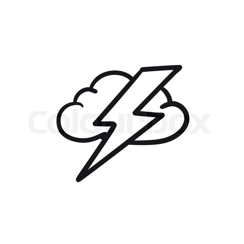 Cloud And Lightning Bolt Vector Sketch Stock Vector Colourbox