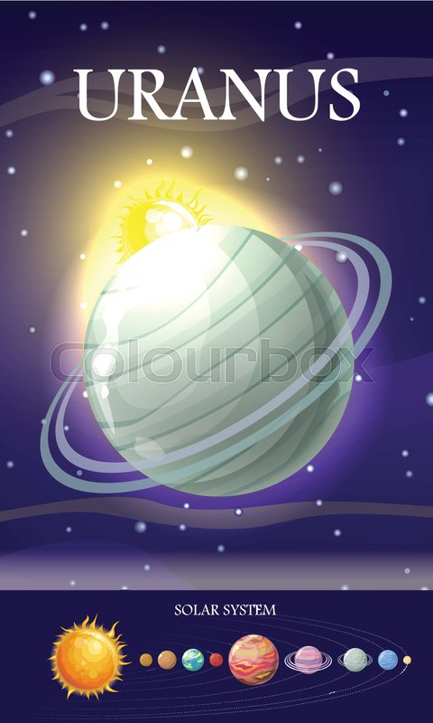 Planet Uranus In Solar System Solar Stock Vector