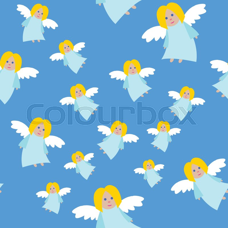Light Blue Long Dress Fair Hair And Eyes Small Flying Girl White Straightened Wings Cartoon Style Flat Design Wallpaper Endless Texture