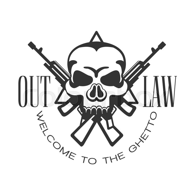 Criminal outlaw street club black and white sign design template criminal outlaw street club black and white sign design template with text crossed guns and scull monochrome vector emblem with ghetto symbols for prints sciox Gallery