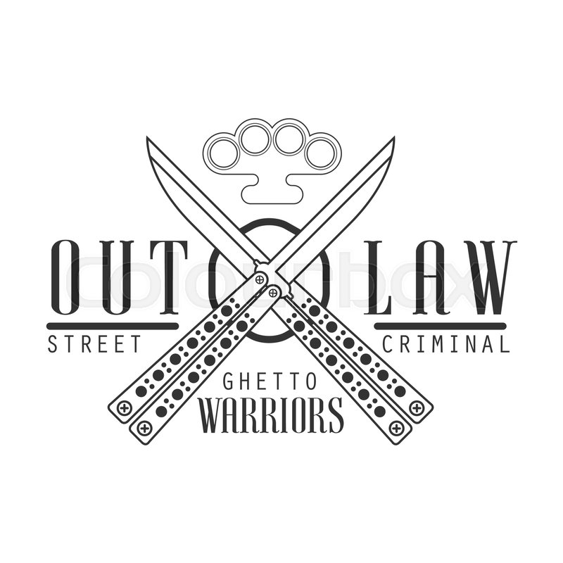 criminal outlaw street club black and white sign design template with text crossed butterfly. Black Bedroom Furniture Sets. Home Design Ideas