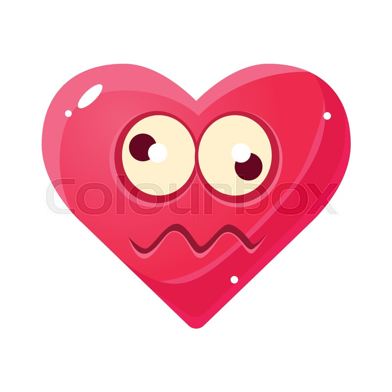 Dizzy Emoji Pink Heart Emotional Facial Expression Isolated Icon