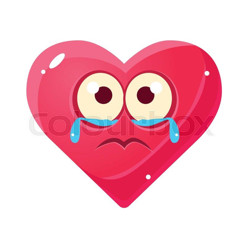 Crying Upset Emoji, Pink Heart ... | Stock vector | Colourbox