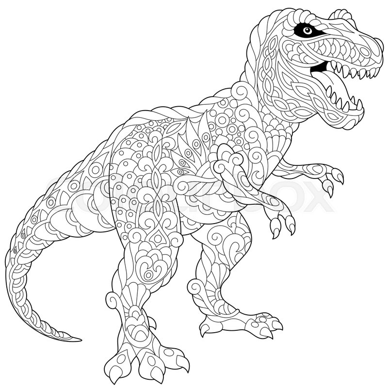 Coloring Books For Adults Dinosaurs : Stylized tyrannosaurus t rex dinosaur of the late cretaceous