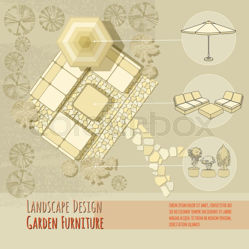 Stock Vector Of U0027Vector Illustration Of Hand Drawn Lounge Chairs Under Patio  Umbrella And Flowers