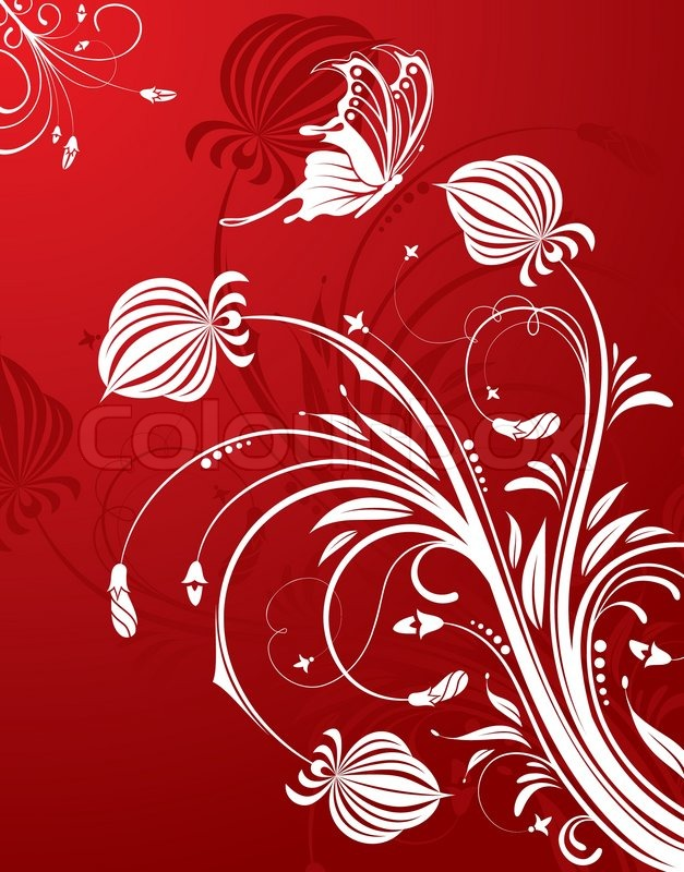abstract flower pattern with butterfly element for design