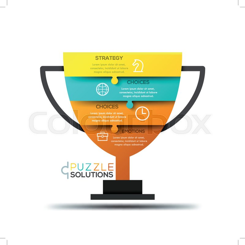 Modern Infographic Design Template Jigsaw Puzzle In Shape Of Champion Cup Divided Into 4 Pieces Championship Strategy Tournament And Competition Concept