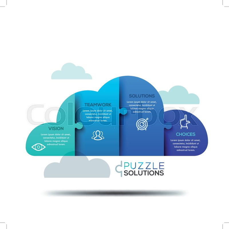 Modern Infographic Design Layout Jigsaw Puzzle In Shape Of Cloud Divided Into 4 Parts Computing Services Advertisement Data Storage Technology