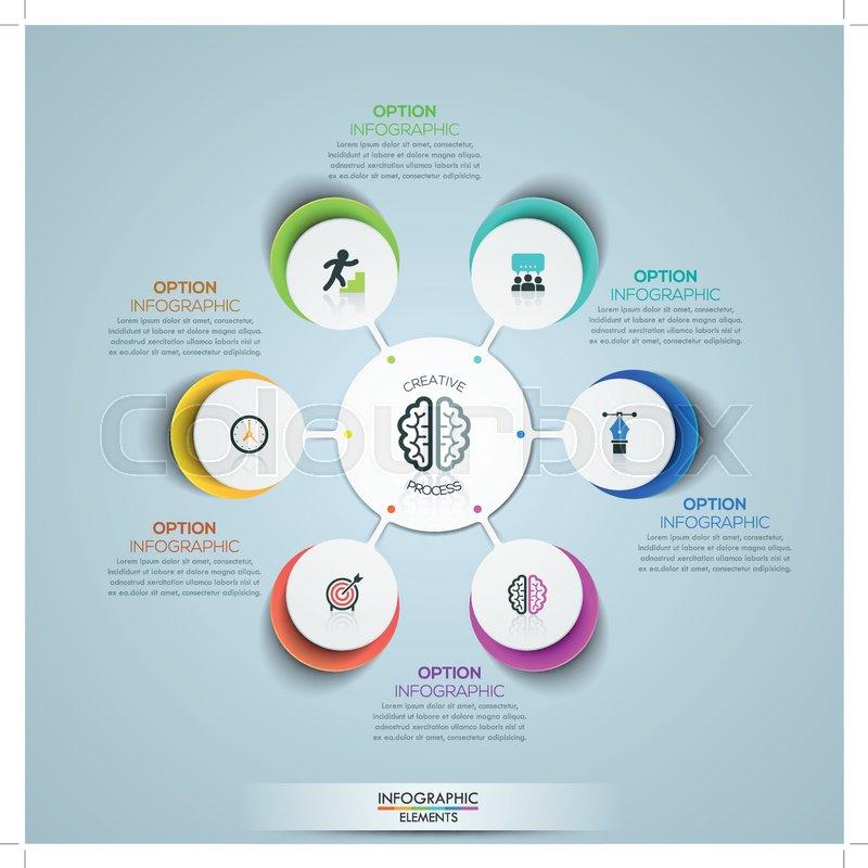 Modern infographic design template, circular flower petal diagram ...