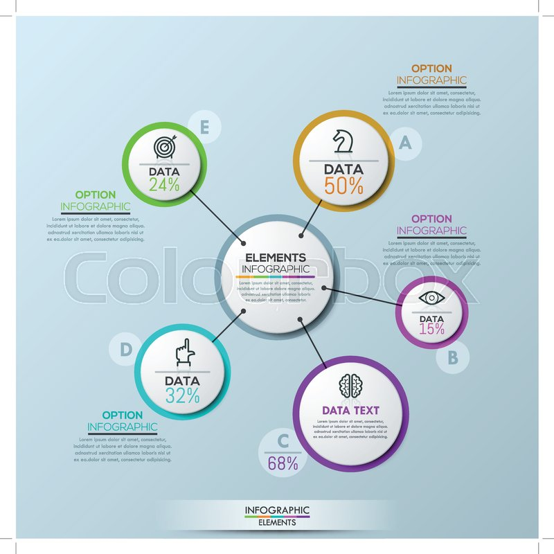 Vector company infographic overview design template, circular flower ...