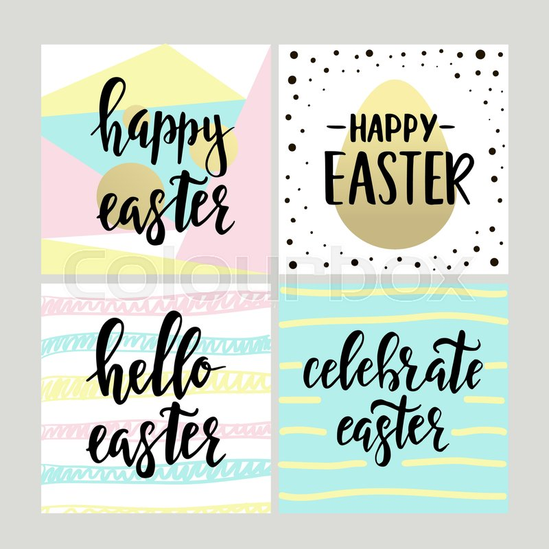 Set with happy easter gift cards with calligraphy handwritten set with happy easter gift cards with calligraphy handwritten lettering hand drawn design elements printable items vector negle Image collections