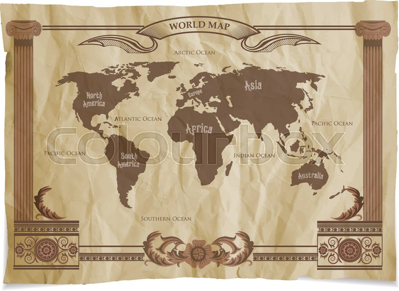 Old vintage retro world map vector illustration stock vector old vintage retro world map vector illustration vector gumiabroncs Gallery