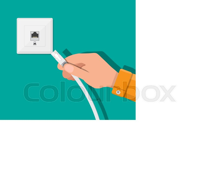 RJ45 LAN cable in hand and network socket. Internet. Vector ...
