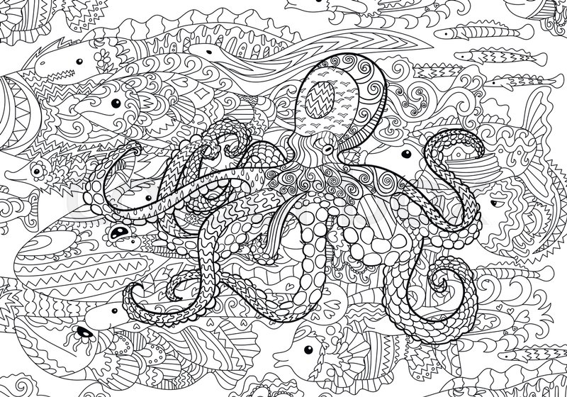 Adult Antistress Coloring Page Black White Hand Drawn Doodle Oceanic Animal For Art Therapy Full Marine Background With High Details