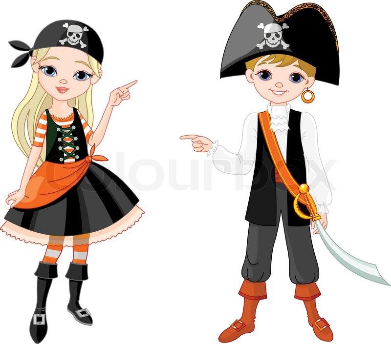 Kinder als Piraten für Halloween-Party gekleidet | Vektorgrafik ...