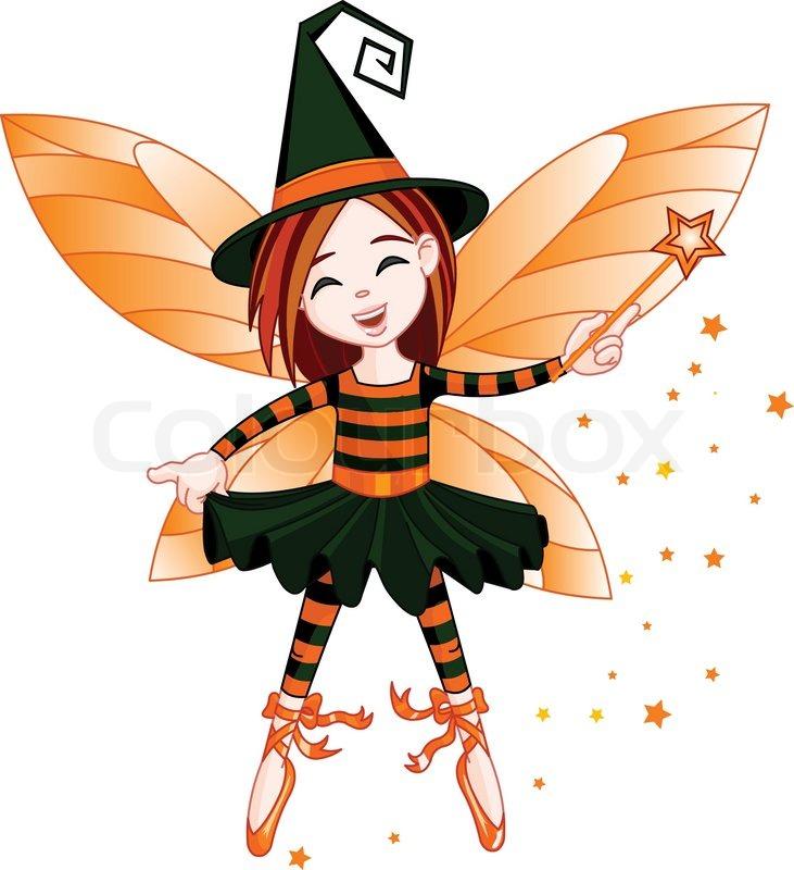 illustration of cute halloween fairy flying stock vector colourbox fairy tale clip art free black and white fairy tale clipart border