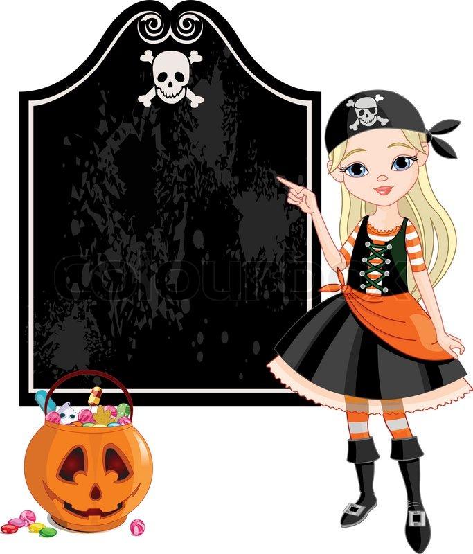 Mädchen als Piraten für Halloween-Party gekleidet | Vektorgrafik ...