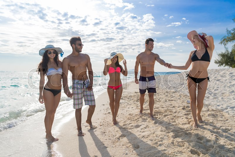 Young People Group On Beach Summer Vacation Happy Smiling Friends Walking Seaside Sea Ocean Holiday Travel