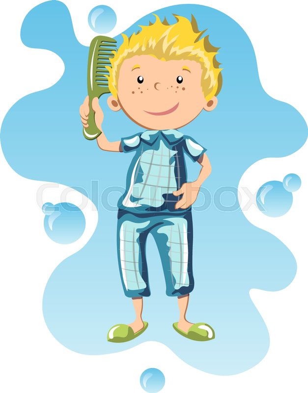 Boy Comb The Hair With A Comb Stock Vector Colourbox