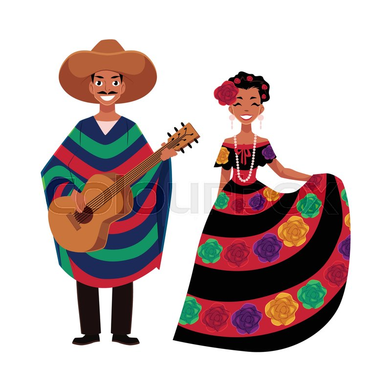 mexican man and woman in traditional national clothes for
