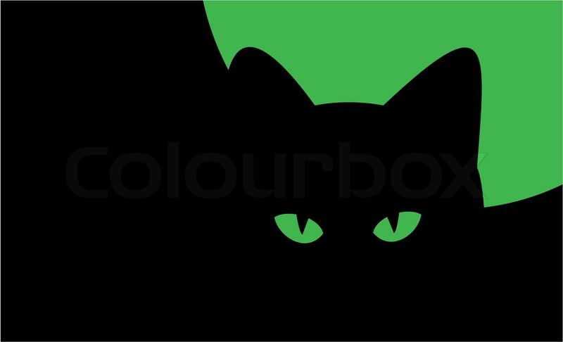 Illustration on theme of Halloween - silhouette of cat against the ...