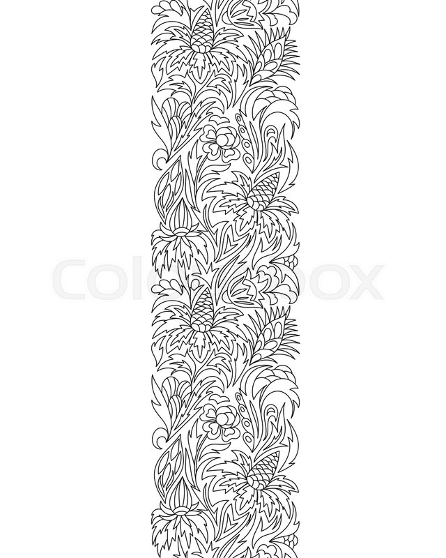 Seamless Borders Vector In Doodle Style Floral Ornate Decorative