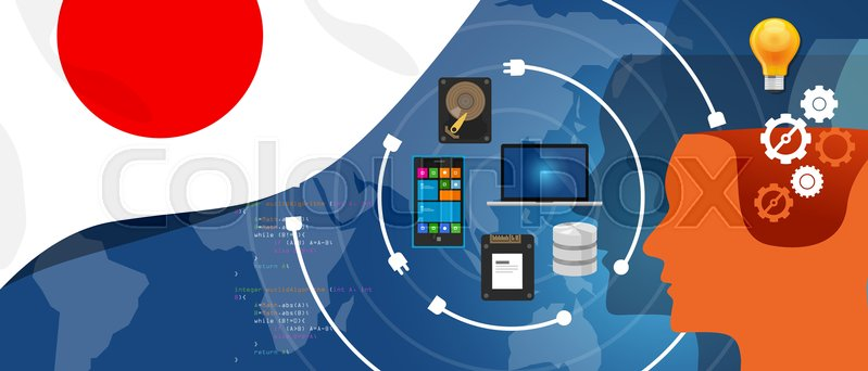 Japan IT information technology digital infrastructure connecting business data via internet network using computer software an electronic innovation vector, vector