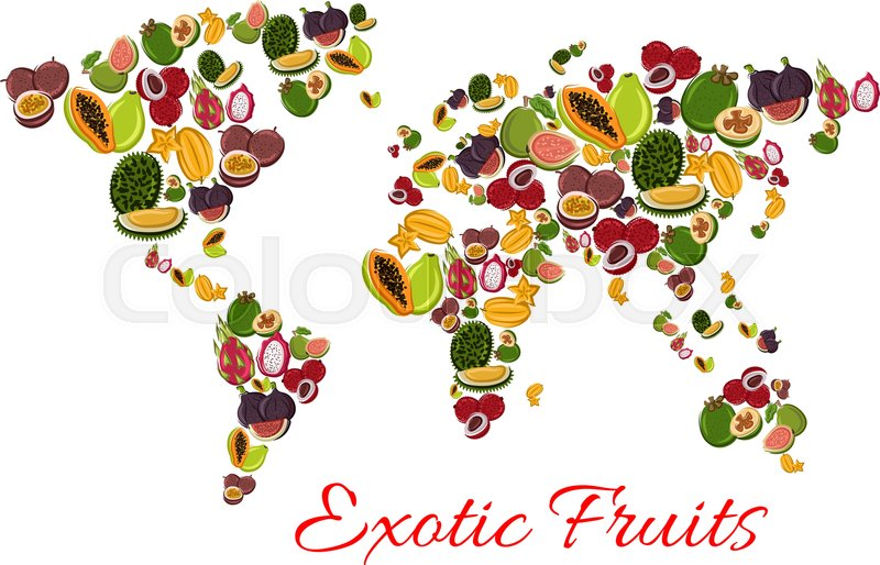 Exotic fruit world map poster with papaya passion fruit feijoa exotic fruit world map poster with papaya passion fruit feijoa dragon fruit carambola lychee durian fig and guava tropical fruit continents for gumiabroncs Image collections