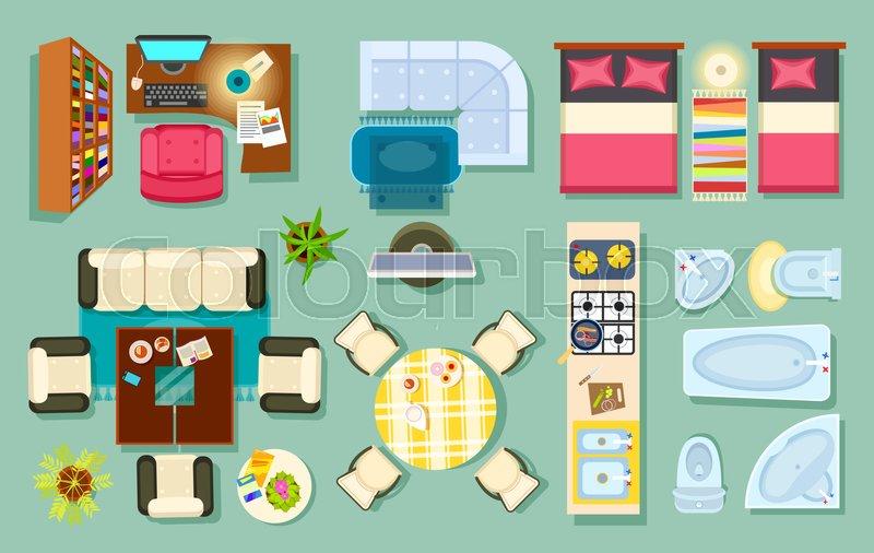 Interior Design Symbols For Furniture ~ Flat interior top view living room bathroom bedroom