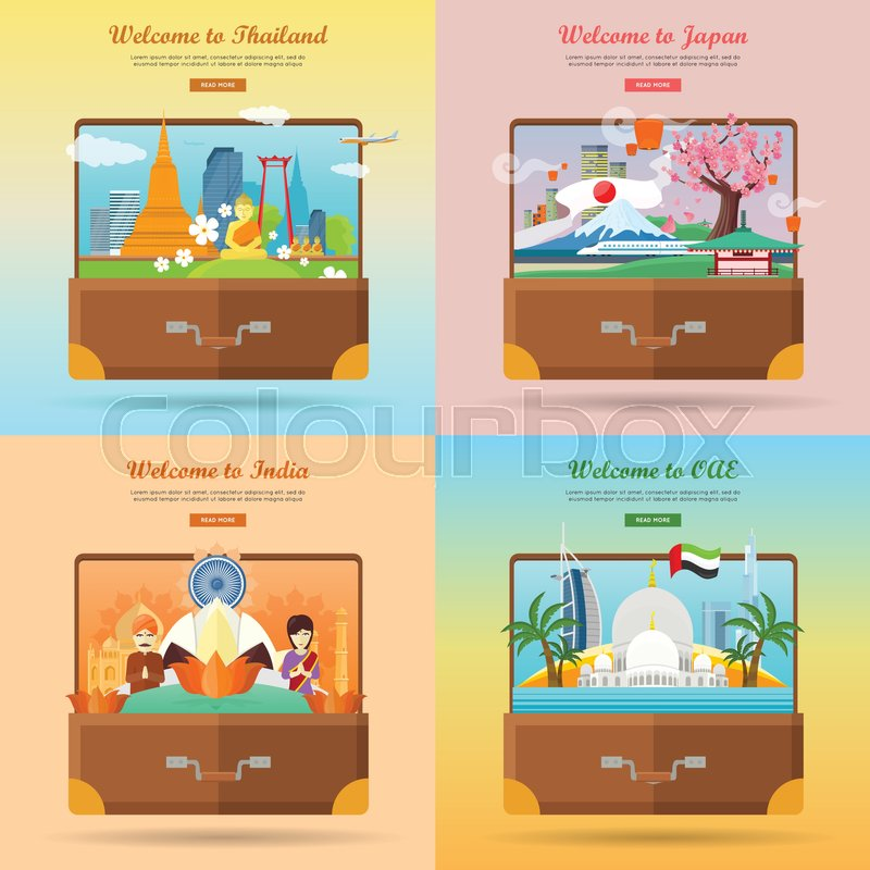 Welcome to Japan, Thailand, India, United Arab Emirates. Set of advertisement banners. Landmarks of asian places of interest on photo in suitcase. Traveling concept. Going to vacation. Vector, vector