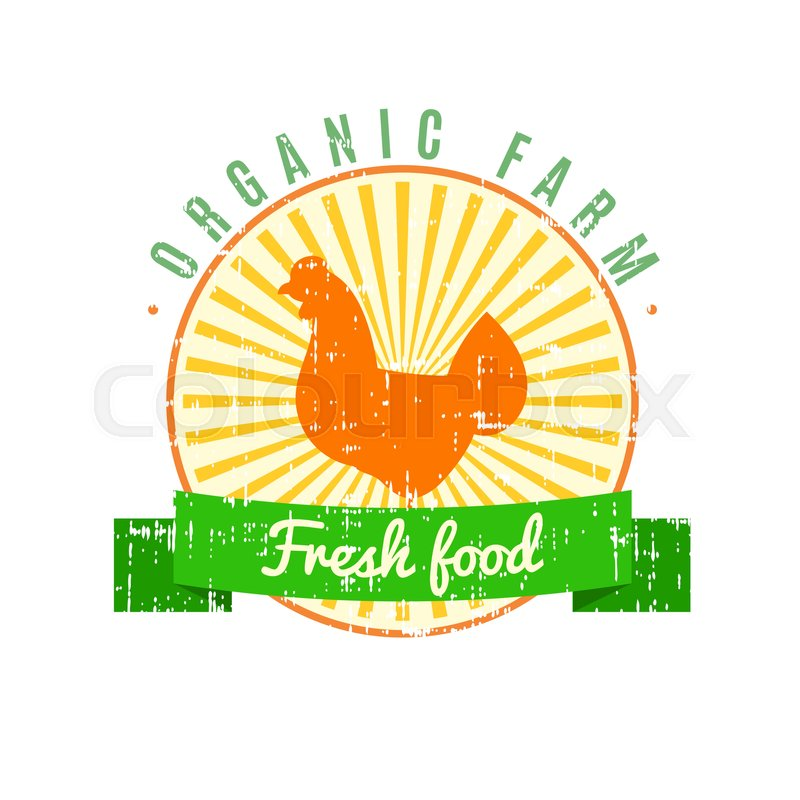 Fresh Food Logo With Chicken Label Stock Vector Colourbox