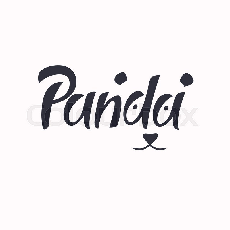 modern hand drawn lettering word panda calligraphy brush and ink