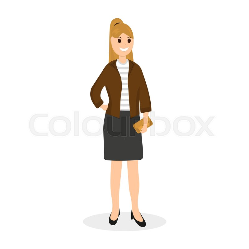 c8f696cc Woman with clutch bag on a white ... | Stock vector | Colourbox