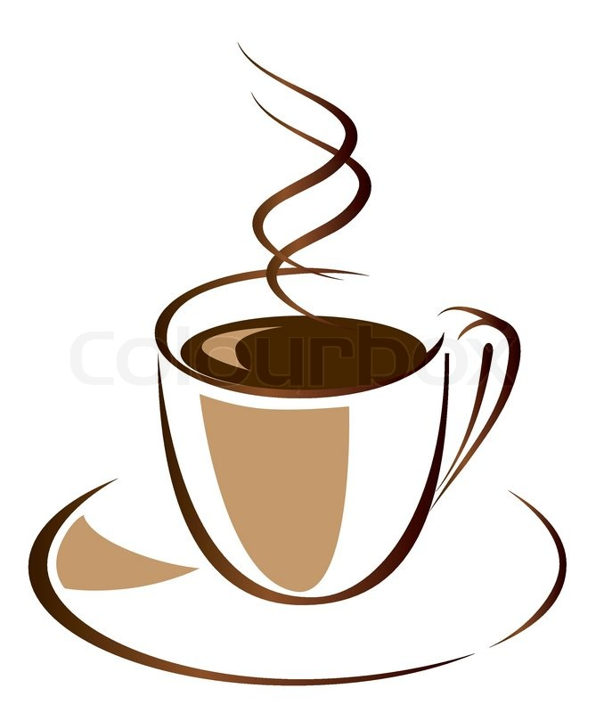 Black Coffee In White Cup Vector Stock Vector