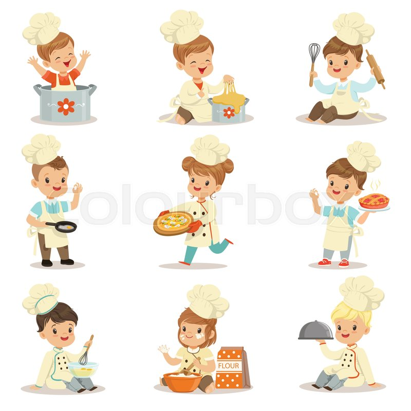 Small Kids In Chief Double Brested Stock Vector
