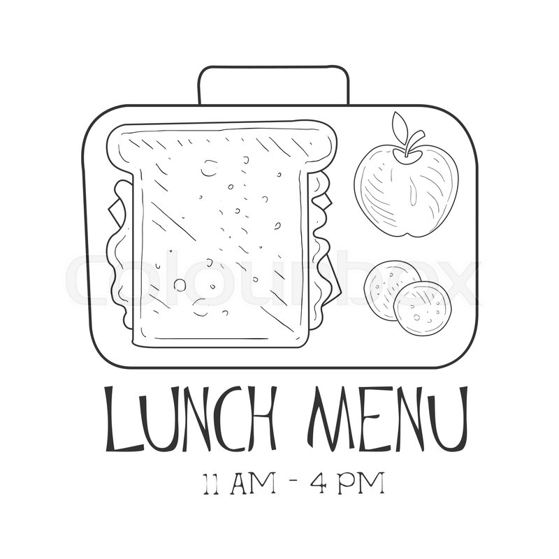 School Lunchbox Cafe Lunch Menu Promo Sign In Sketch Style Design Label Black And White Template Monochrome Hand Drawn Promotional Poster Print Vector