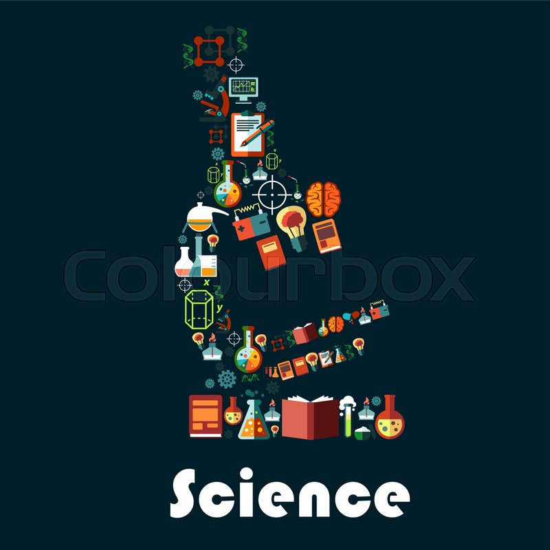 Science Poster In Microscope Shape Vector Astronomy