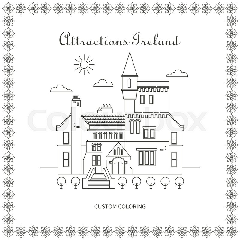 Attractions Ireland. City. Architecture. The flat trend line illustration. Ideal for custom coloring book, vector