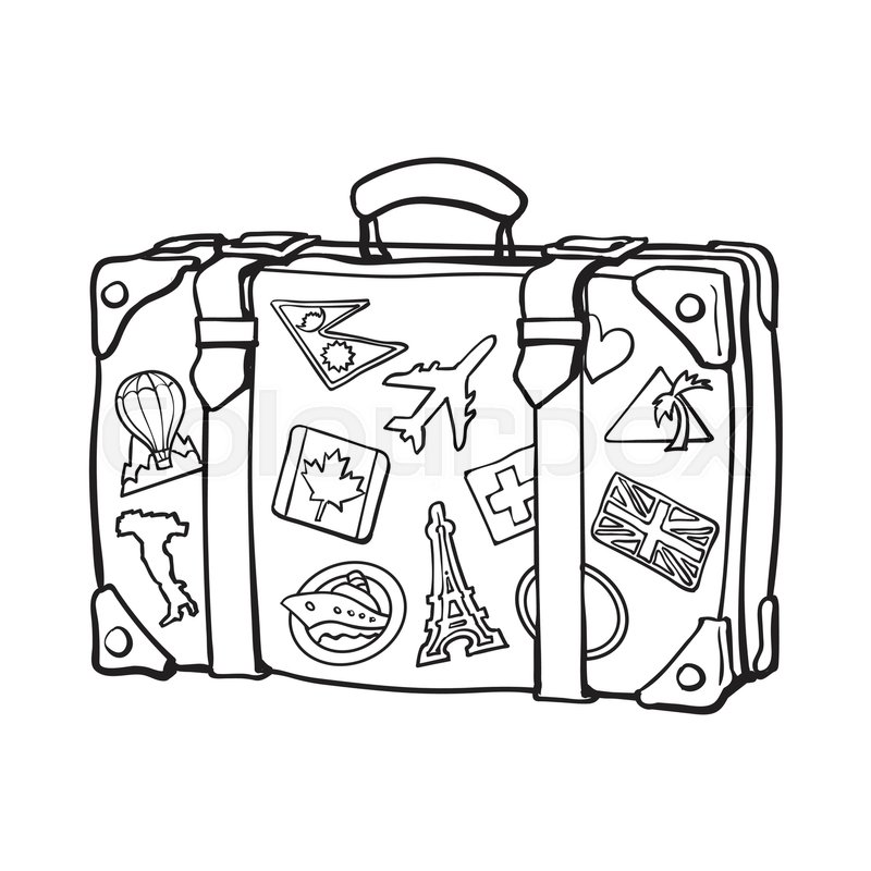 Hand drawn retro style travel suitcase with labels, black ...