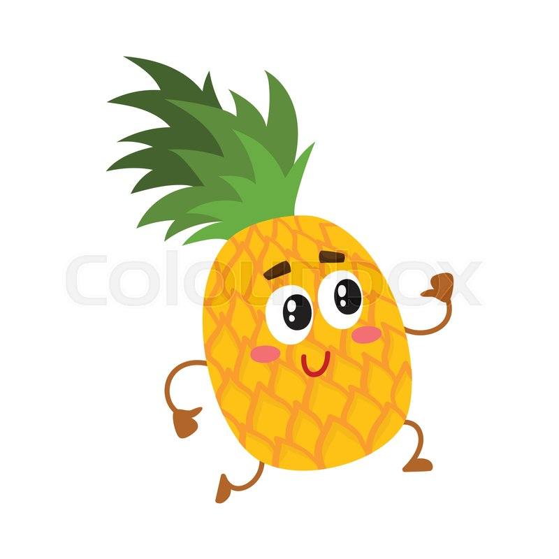 Cute And Funny Pineapple Character Running With Thumbs Up Cartoon Vector Illustration Isolated On White Background Active