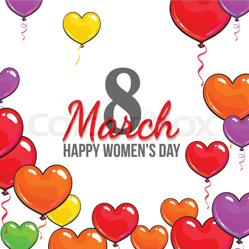 Happy womens day 8 march greeting card banner design with color happy womens day 8 march greeting card banner design with color heart shaped balloons cartoon vector illustration 8 march womens day greeting card m4hsunfo