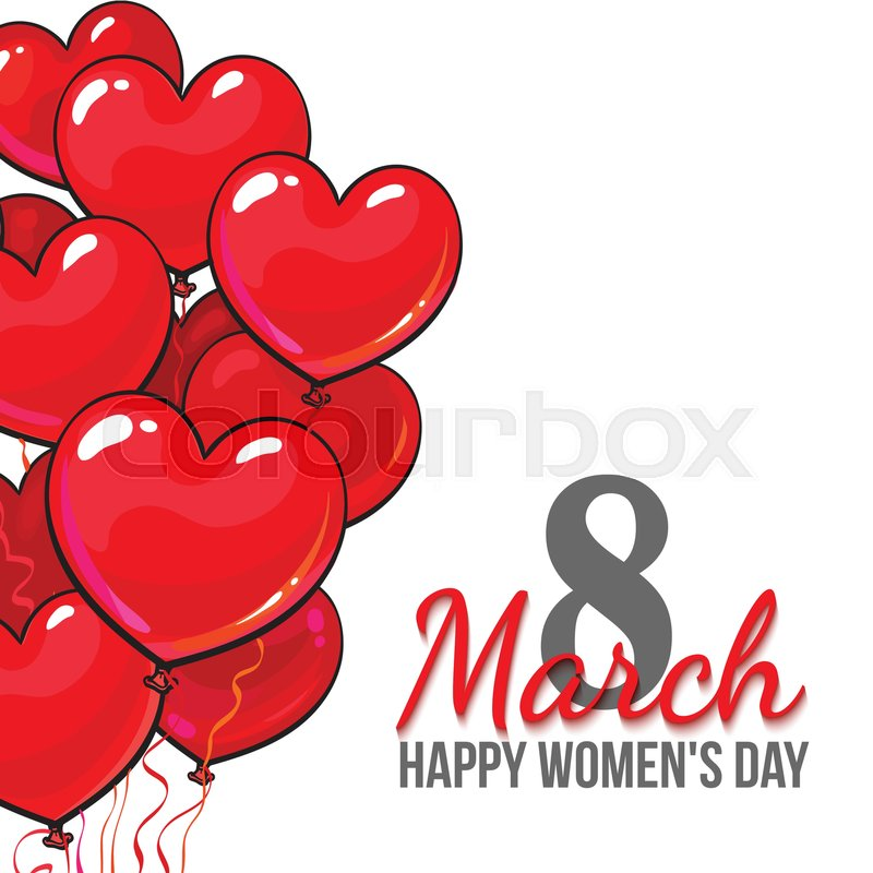 Happy womens day 8 march greeting card banner design with red happy womens day 8 march greeting card banner design with red heart shaped balloons cartoon vector illustration 8 march womens day greeting card m4hsunfo