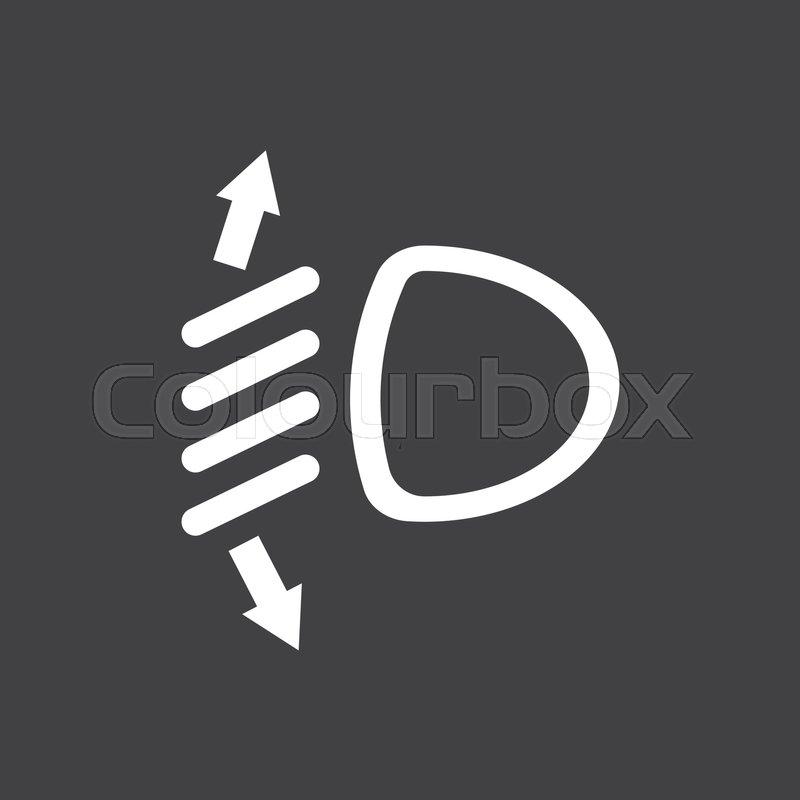 Fault Auto Headlight Icon Car Dashboard Icon Vector Illustration