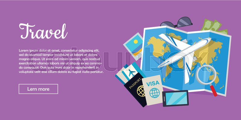 Travel web banner aircraft suitcase with luggage world map air aircraft suitcase with luggage world map gumiabroncs Choice Image