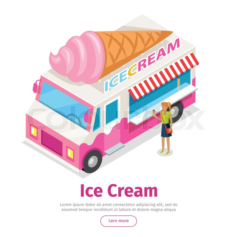 Icecream Cone Cupcake Wallpapers Mobile Pics: Ice Cream Truck In Isometric ...