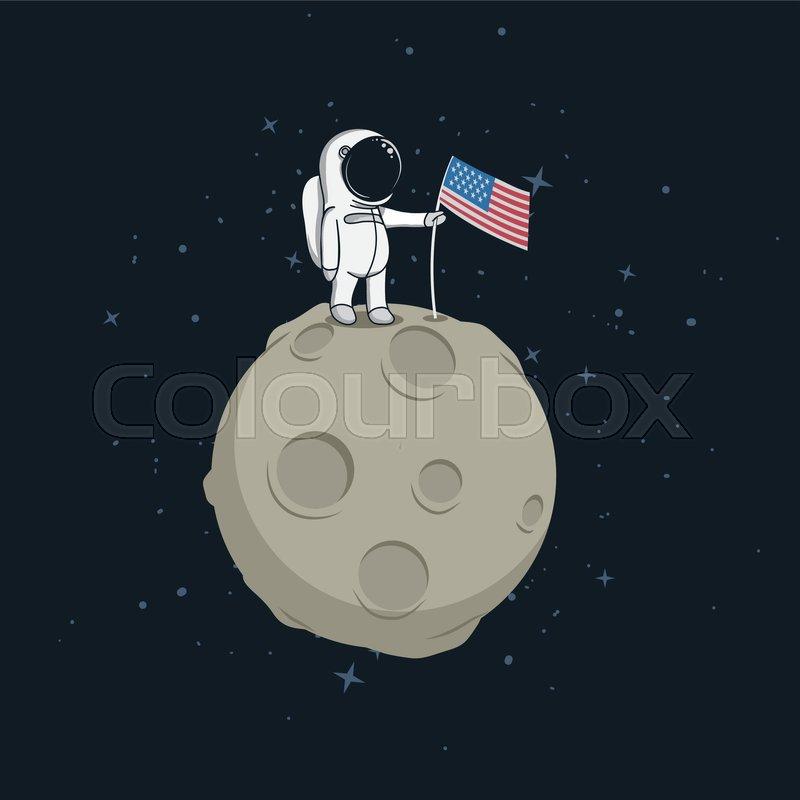 USA Astronaut Explored The Moon And Sets American FlagCartoon Vector IllustrationChildish Style