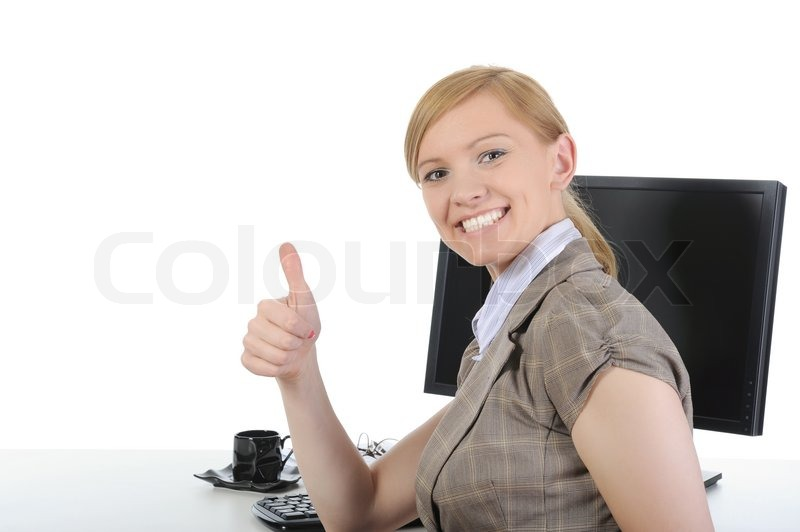 Happy Office Worker At His Desk Stock Image Colourbox