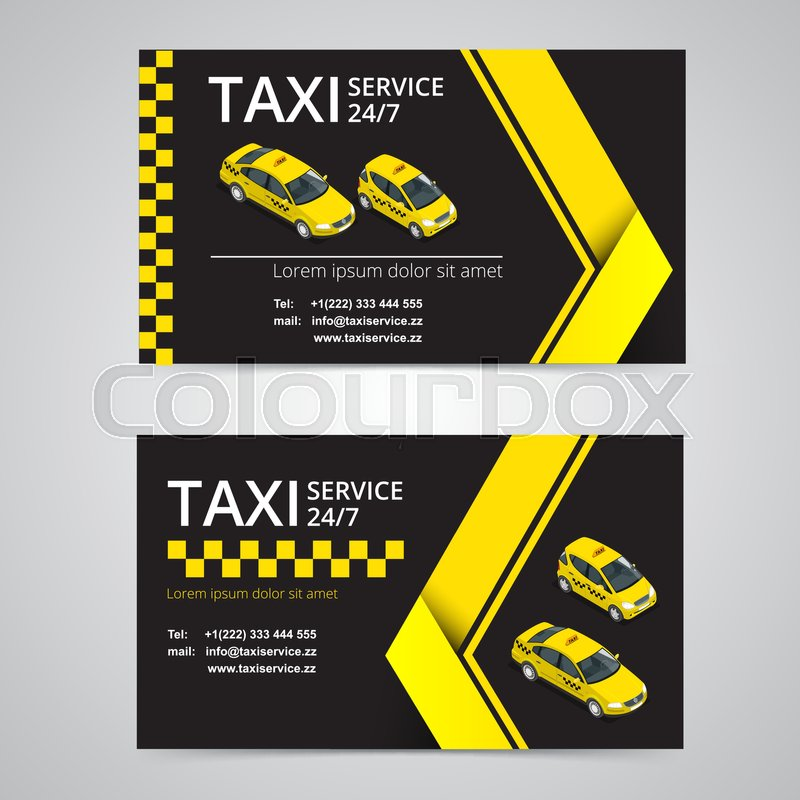 Taxi card for taxi-drivers. Taxi service. Vector business card ...