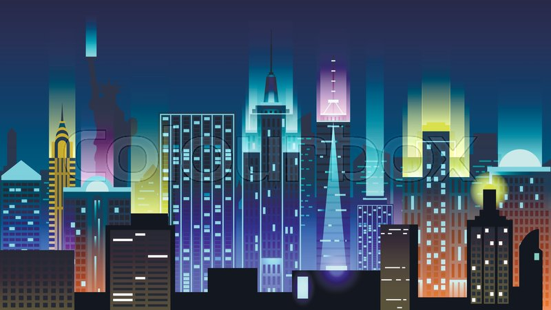 vector illustration background city night in neon style architecture buildings monuments town country travel usa welcome new york statue of liberty
