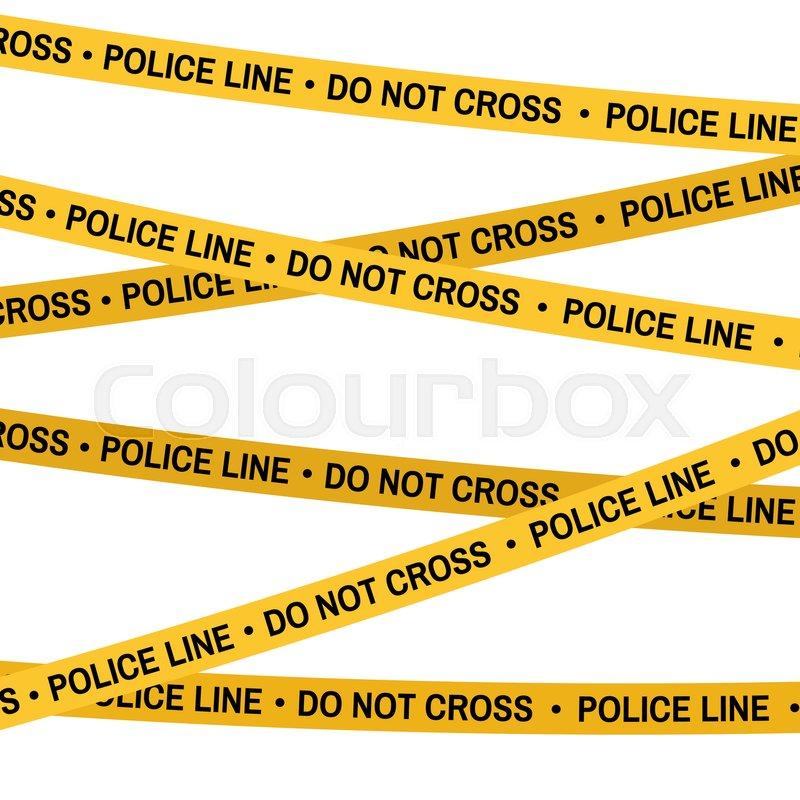crime scene yellow tape police line do not cross tape cartoon flat